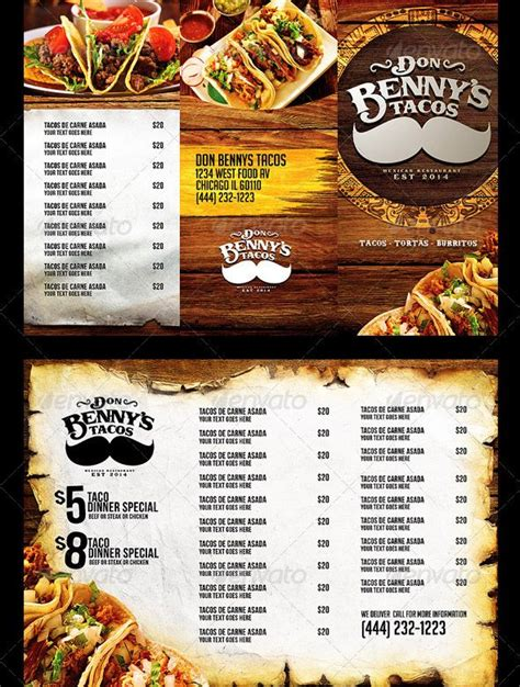 mexican restaurant menu templates 17 best images about food brochure on pizza