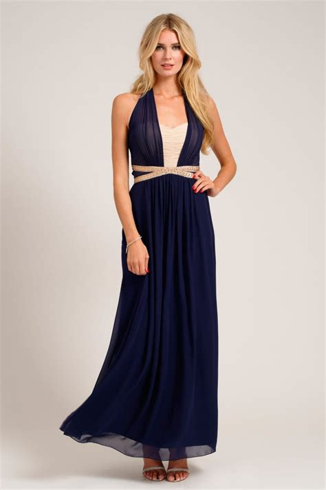 navy embellished halterneck chiffon maxi dress