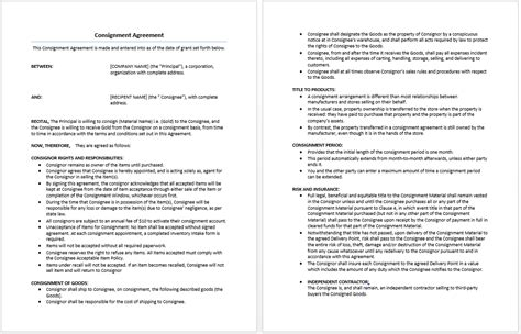 consignment shop contract template consignment agreement template microsoft word templates