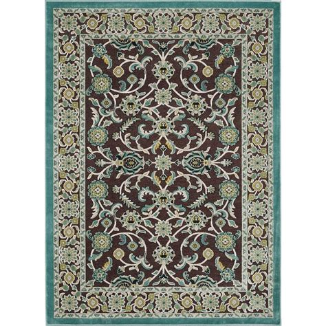 home depot rugs 5x8 tayse rugs nani brown 5 ft 2 in x 7 ft 3 in area rug cbr1208 5x8 the home depot