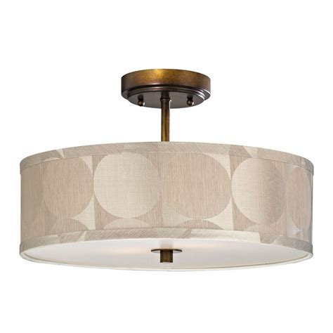 Drum Lighting For Ceilings Bronze Drum Shade Semi Flush Ceiling Light 16 Inches Wide Ebay