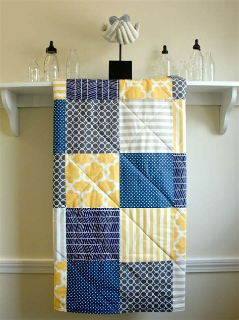 Navy And Gray Quilt Baby Boy Quilt Navy Grey Yellow Gender Neutral