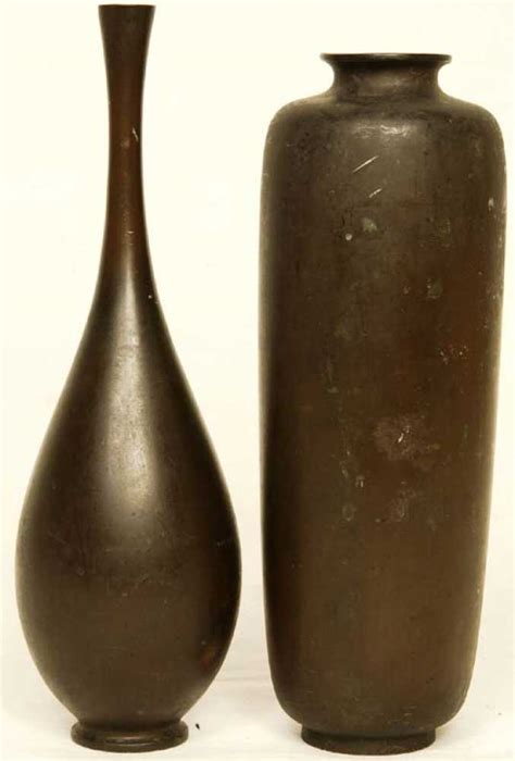 Japanese Ikebana Vase by Two Japanese Ikebana Bronze Vases