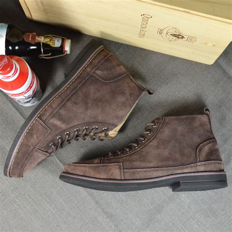vintage genuine leather high top shoes water washed