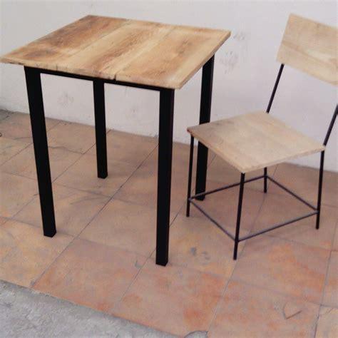 mesa de bar tipo industrial de hierro  madera artesanal