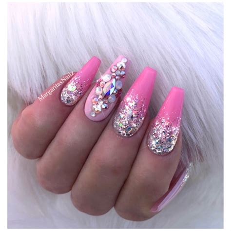 glitter ombre pink bling coffin nails nail art gallery