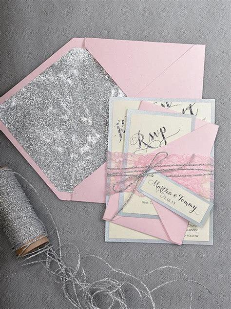 pink and silver wedding invitations custom listing 20 pink silver glitter wedding invitation