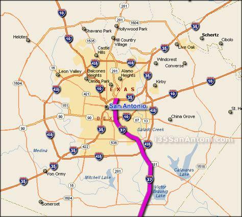 road map of san antonio texas i 37 interstate 37 san antonio map