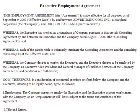 Executive Employment Agreement Template 28 Images 8 Employment Agreement Sles Free Sle Exle Executive Employment Contract Template