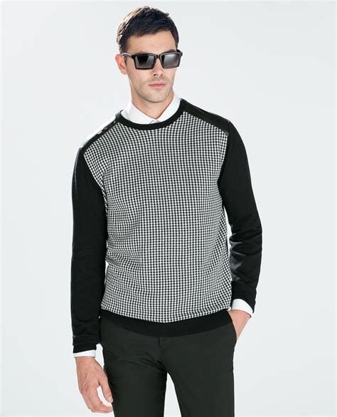 Sweater Germany houndstooth sweater with fuax leather applique knitwear zara germany s sweater