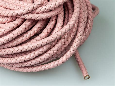 6mm Braided Cord - 6mm braided leather cord light pink genuine leather cord