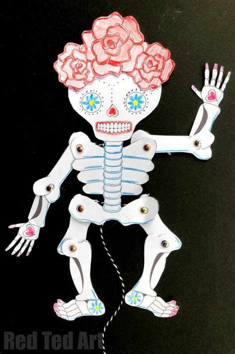 Make Your Own Paper Skeleton - day of the dead paper puppet template ted s