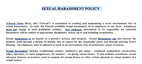 church sexual harassment policy template 171 free