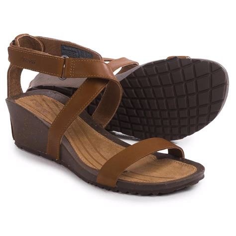 Wedges Two Black teva cabrillo wedge 2 sandals black and leather new ebay
