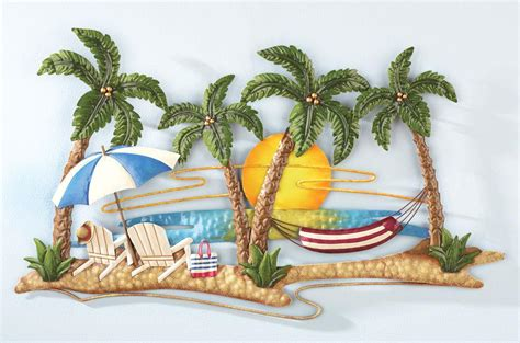 tropical metal wall decor new tropical island palm trees hammock sunset