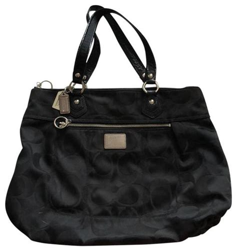 coach monogrammed poppy black canvas shoulder bag tradesy