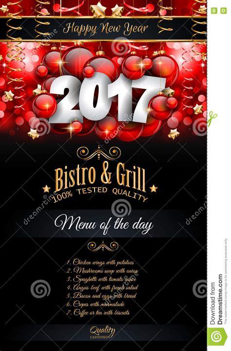 happy  year restaurant menu template background stock vector illustration  december