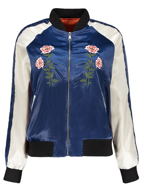 Letter Embroidered Jacket 2018 floral letter embroidered bomber jacket in blue s zaful