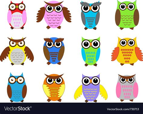 owl colors color owls royalty free vector image vectorstock