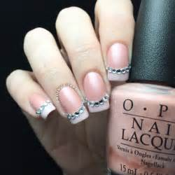 French Manicure With Rhinestones Nail Art Polished Inka
