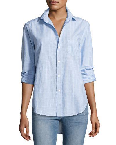 Frank Blue Blouse frank eileen eileen sleeve striped chambray blouse