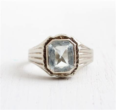 antique 10k white gold aquamarine s ring vintage