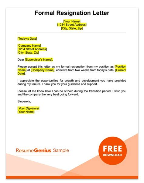 Resignation Acceptance Letter Importance Two Weeks Notice Letter Sle Free