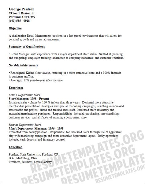 Resume Retail Exles by Resume Exles For Retail Store Manager Retail Manager Resume Template Resumes