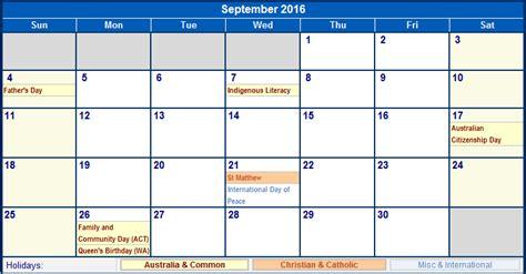 printable calendar australia september 2016 australia calendar with holidays for