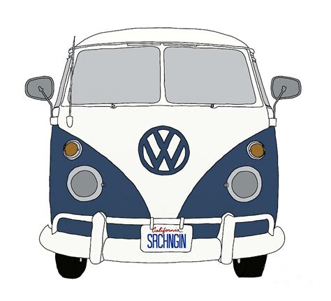 volkswagen hippie front vw front end blue digital by priscilla wolfe