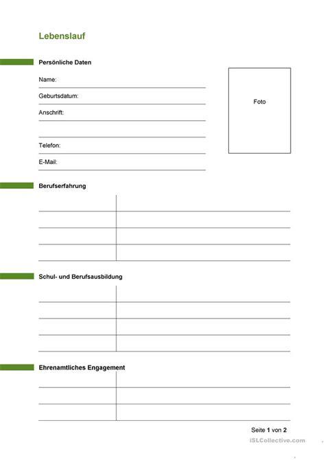 Lebenslauf Muster Drucken lebenslauf vorlage arbeitsblatt kostenlose daf