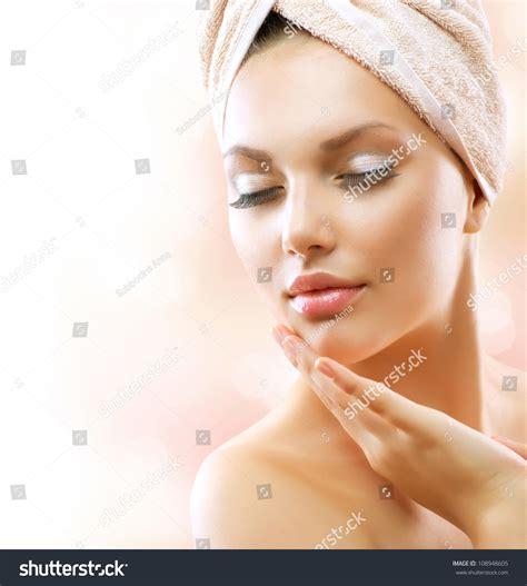 bathroom facials spa woman beautiful girl after bath stock photo 108948605