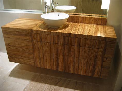 Zebra Wood Bathroom Vanity Bathroom Vanity Contemporary Bathroom