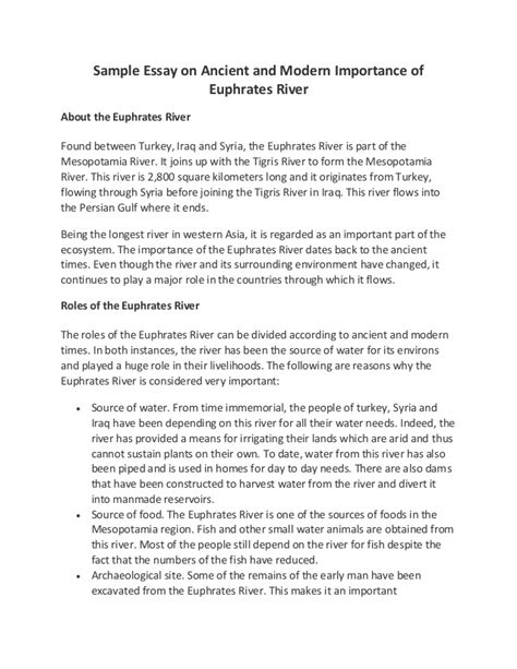 Essay About Modern by Sle Essay On Ancient And Modern Importance Of Euphrates River