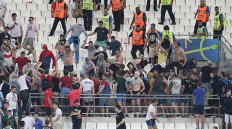 hot speedo clad football fan captures ire of security several england fans were taken to hospital after russian