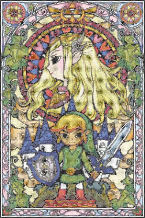 zelda cross stitch pattern free zelda stained glass cross stitch pattern dorkster