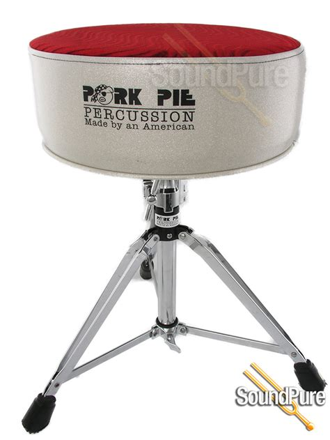 Pork Pie Drum Stool by Pork Pie Percussion Vinyl Drum Throne Silver Sparkle Swirl Seat