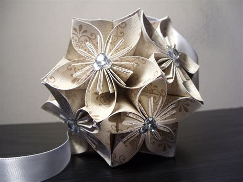 Origami Flowers For Wedding - wedding w rhinestones kusudama origami paper flower