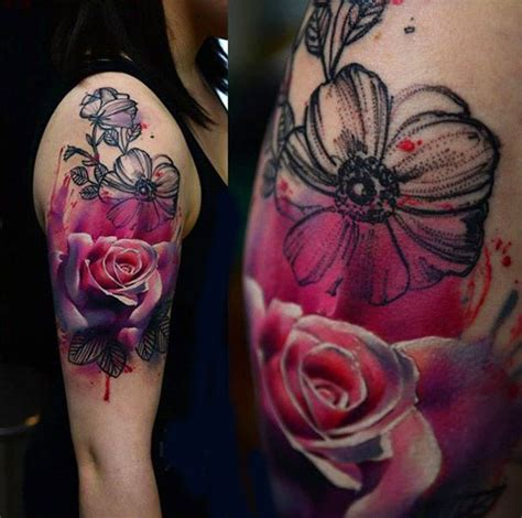 tattoo 3d flower 3d abstract flowers tattoo on girl right half sleeve
