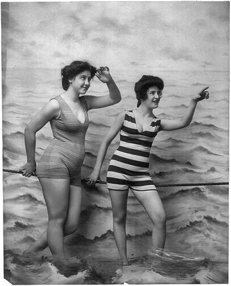 old ladies in bathing suits two women in bathing suits on the beach 1800s 1920s