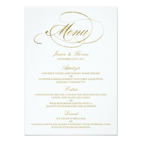 menu invitation template chic faux gold foil wedding menu template card