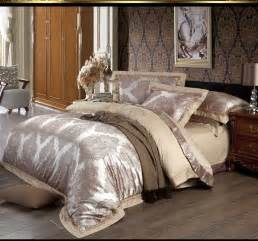 silk satin jacquard bedding set king size luxury 4pc
