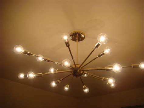 In Ceiling Light Fixtures Polished Brass Atomic Sputnik Starburst Light Fixture Chandelier Ceiling L Ebay