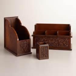 carved wood desk organizers world market