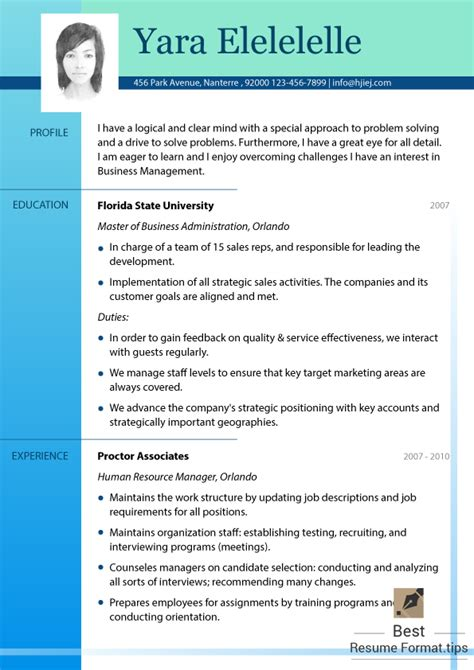 best resume format for management students best resume formats 2016 free sles best resume format