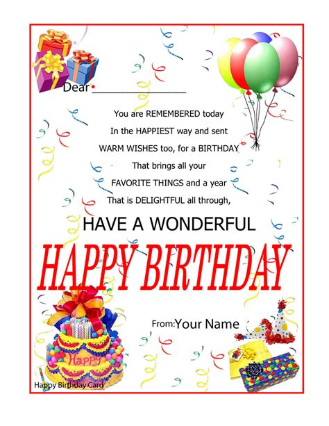 blank birthday card template free blank greeting cards templates in