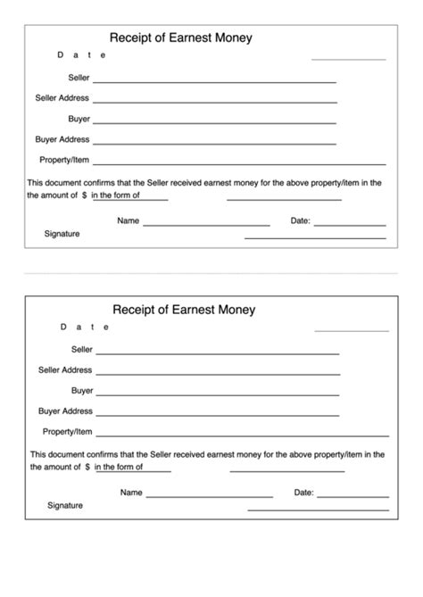 receipt  earnest money template printable