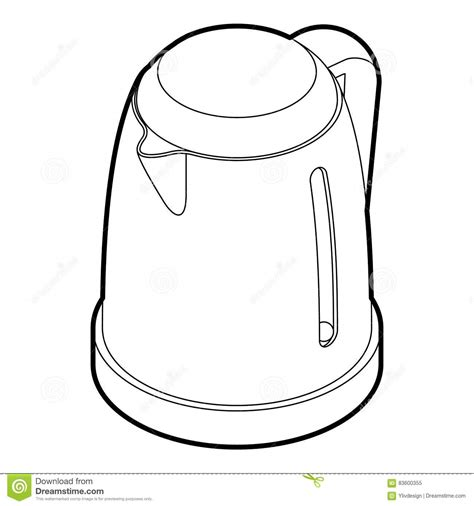 Water Pot Outline by Electric Kettle Icon Outline Style Stock Photo Image 83600355