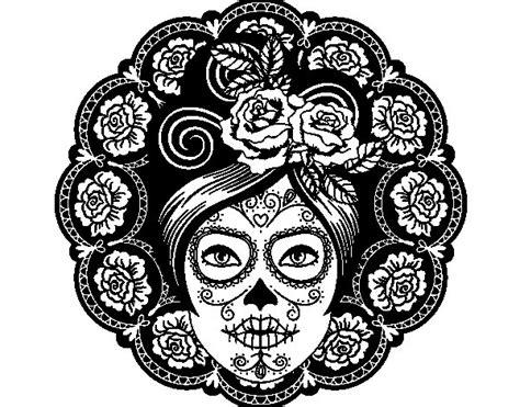 imagenes de calaveras femeninas dibujo de calavera mejicana femenina para colorear