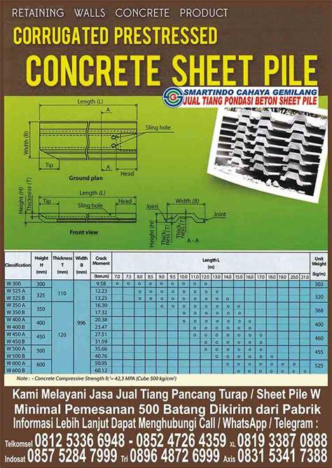 jual tiang pancang turap sheet pile plat beton banjarmasin